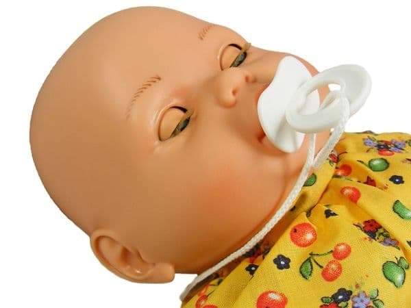 Soft Body White Baby Doll Toy 46cm with Crying Sounds and sleeping eyes and yellow dress free UK delivery